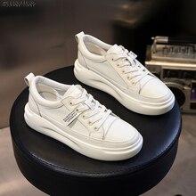 SWYIVYของแท้รองเท้าหนังลำลองรองเท้าสตรีรองเท้าผ้าใบ2019ฤดูใบไม้ร่วงสีขาวรองเท้าผ้าใบแพลตฟอร์...