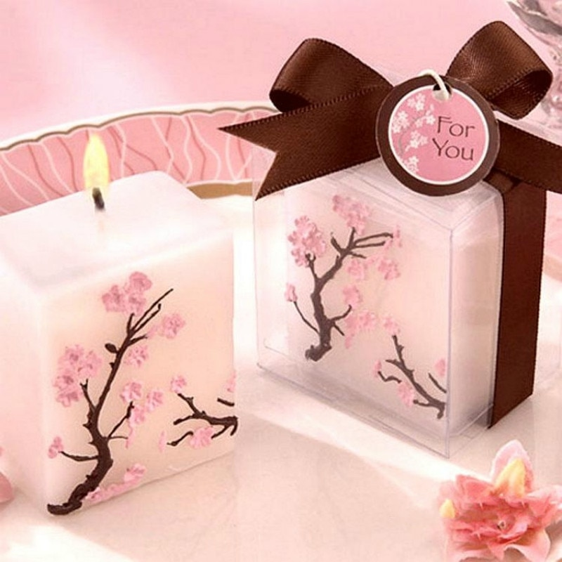 Velas decorativas para el hogar, simulación de velas creativas para cumpleaños, regalos de flores de cerezo coloridas, vela de flores para boda, 2 unidades por lote