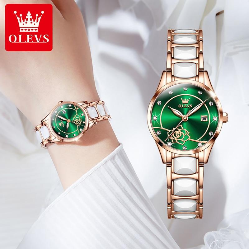 OLEVS Simple Fashion Green Camellia Dial Quartz Watch Ladies Stainless Steel Ceramic Strap Luminous Pointer Waterproof Watch enlarge