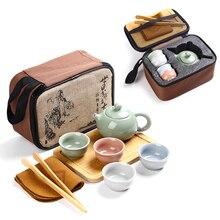 Voyage chinois Kung Fu service à thé en céramique Portable théière porcelaine café Gaiwan thé tasses service à thé cérémonie théière