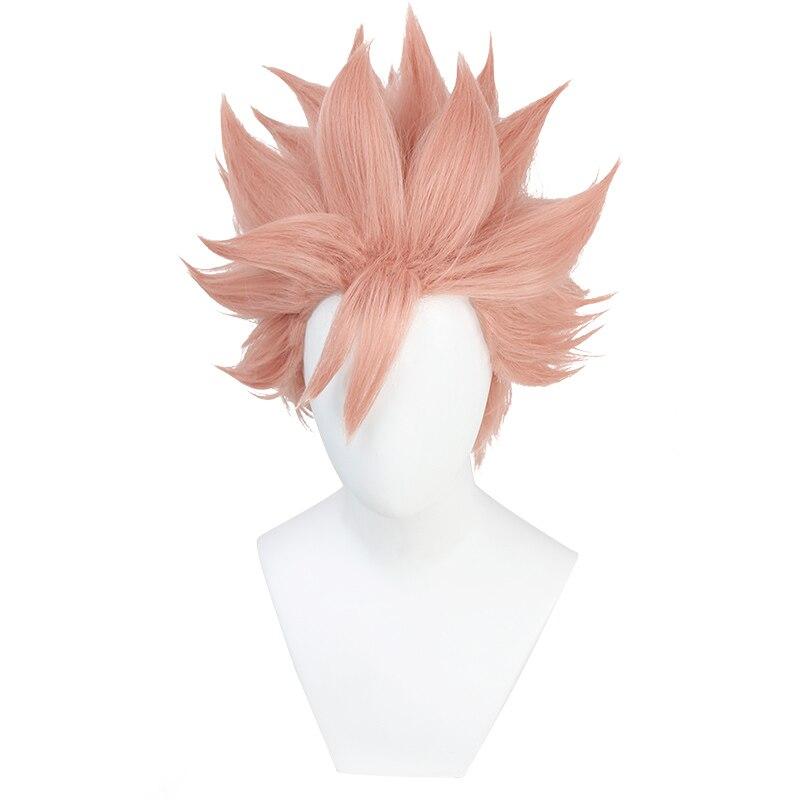 ID invadido los Detectives United Kaeru Peluca de Cosplay Narihisago Akihito Peluca de pelo sintético corto Rosa + gorro de peluca
