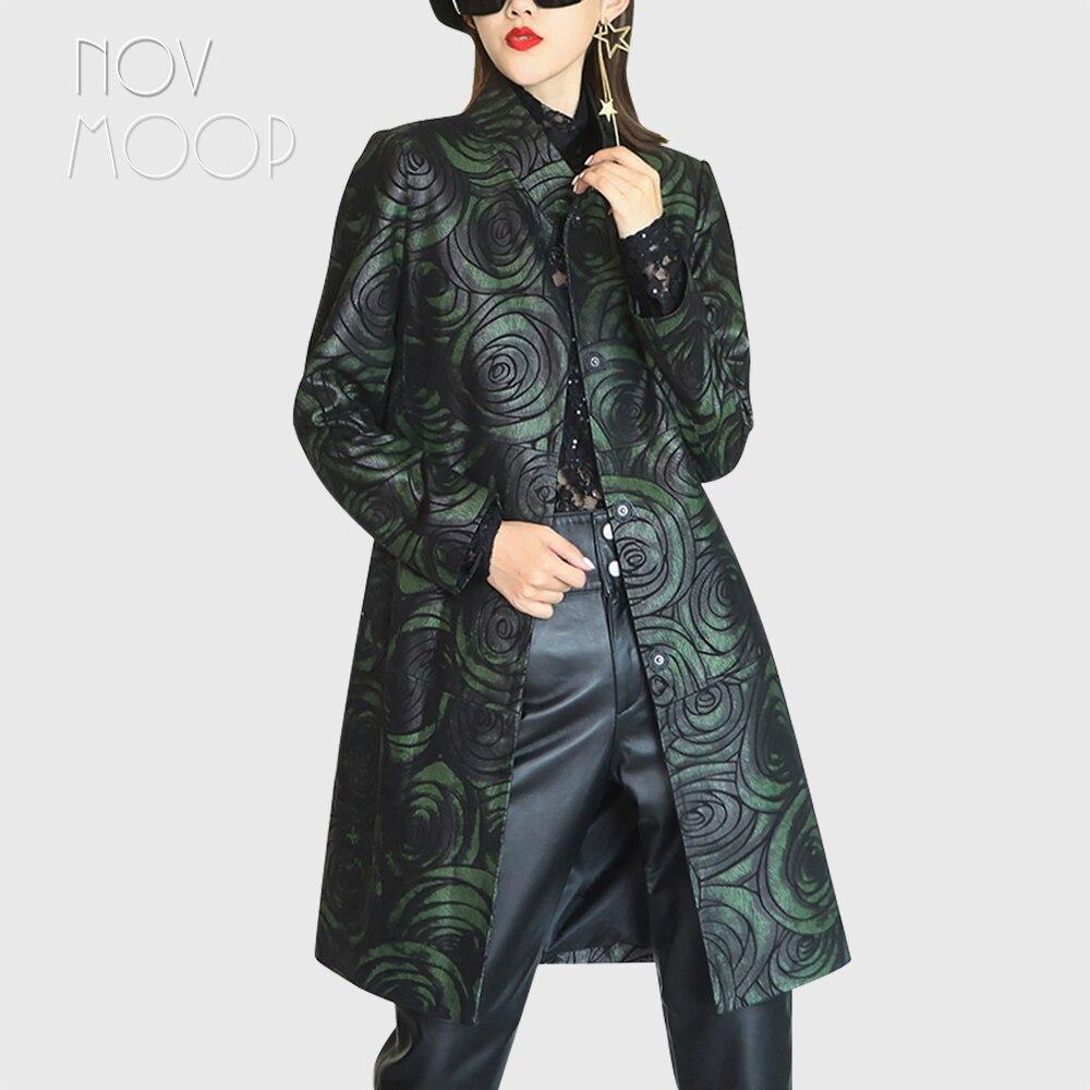 Novmoop-معطف نسائي من جلد الغنم ، معطف أنيق وأنيق ، بطبعة زهور وردية معدنية ، طراز LT3300