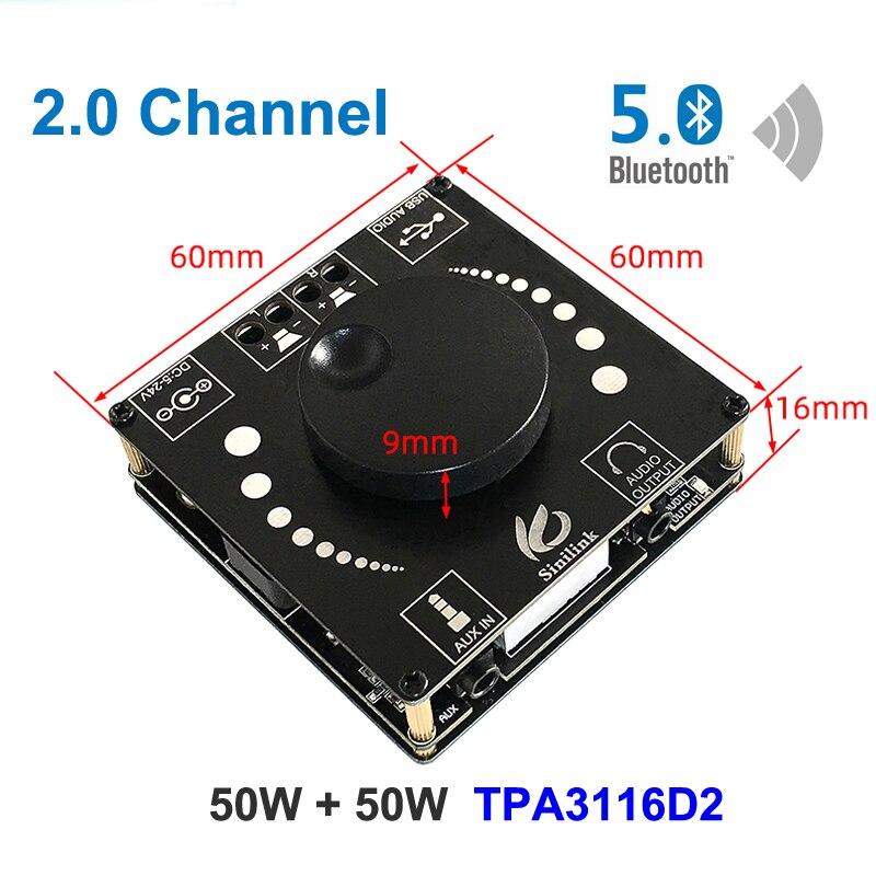 50W + 50W Bluetooth 5,0 Digital TPA3116 amplificador de potencia de Audio de Clase D 10W ~ 200W ESTÉREO HiFi TPA3116D2 tarjeta de sonido USB App AMP