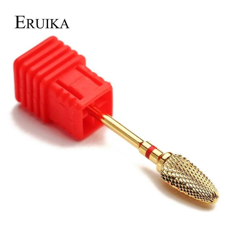 ERUIKA 1 pc Ouro Carbide Nail Salon Manicure Brocas Bits Elétrica Fresadora Cortador Rotativo Rebarbas Prego Limpo Acessório