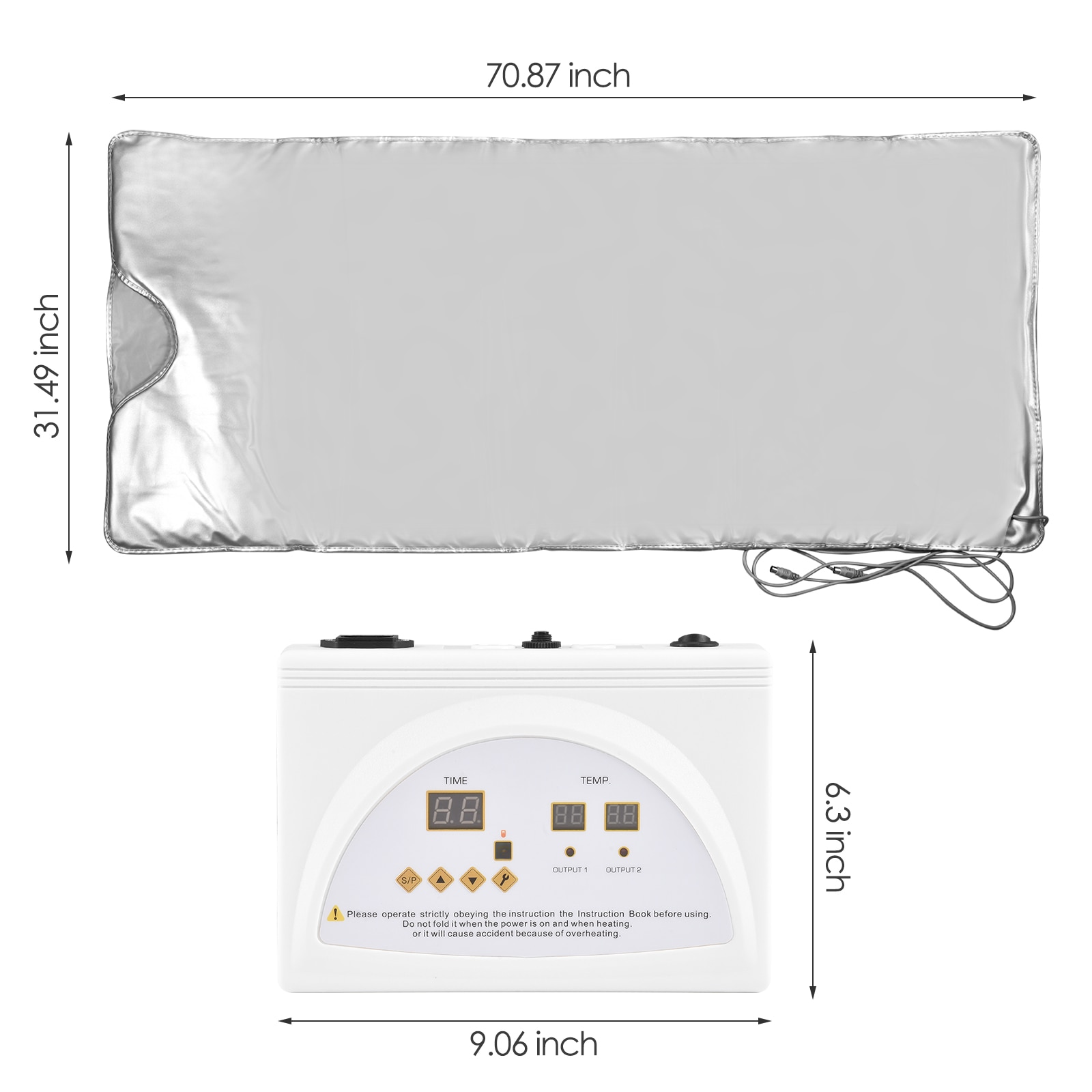 EU US 2 Zone Heating Sauna Blanket Romote Control Heating Blanket Body Weight Loss Sauna Detox Therapy Home Use enlarge