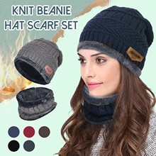 Winter Knitted Beanie Hat Thermal Plush Hat Scarf Woolen Cap Cycling Windproof Cap Two-piece Suit Bo