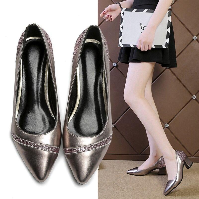 Modelos de primavera y otoño de alta calidad moda salvaje casual punta Baja boca zapatos de mujer cómodos tacones altos de gran tamaño
