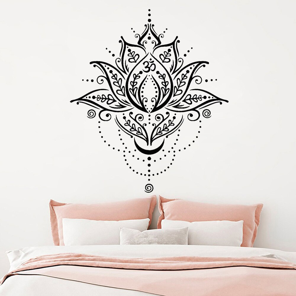 Calcomanía de pared de vinilo de loto estilo bohemio Yoga Spa centro Lotus flor símbolo pegatinas removible hogar dormitorio Mural Z404