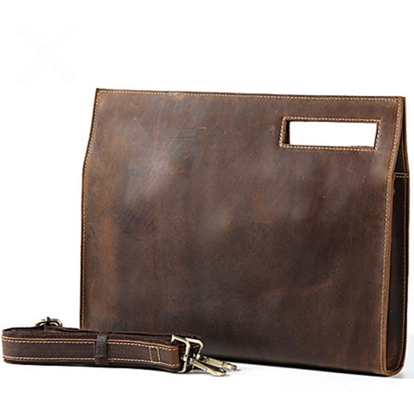 Genuine Leather Men Fashion Man Crazy Horse Cowhide Shoulder Handbag Retro Messenger Bags Male Briefcase Men Travel Bag Handbags
