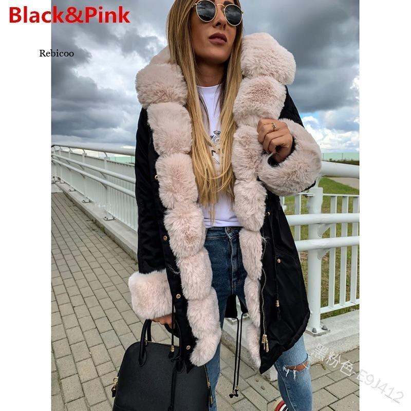Куртка женская с искусственным мехом, теплая Повседневная однотонная парка с длинным рукавом, верхняя одежда с капюшоном, большие размеры