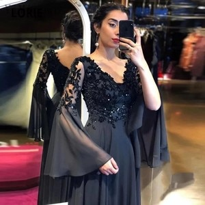 YiMinpwp Black Evening Dresses for Women V Neck Floor Length A Line Appliques Sequined Beads Formal Prom Party Gowns vestidos