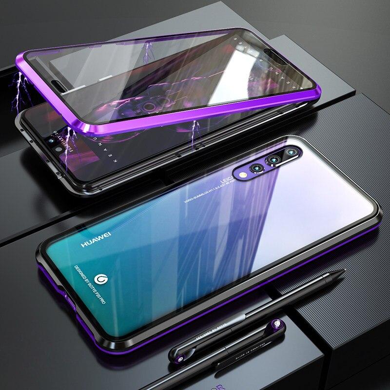 Luxe Pare-chocs En Métal Magnétique étui pour Huawei P20 Pro Housse 360 Clair Verre Plein Corps coque de téléphone Huawei P20 Cas P 20 P20Pro etui