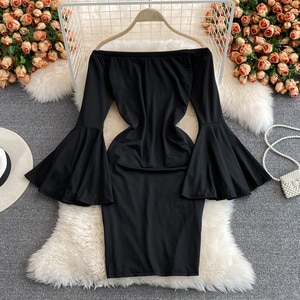 Evening Dress Women's 2021 Summer New Black Party Dress Ladies Slash Neck Off Shoulder Flared Sleeve Evening Dresses
