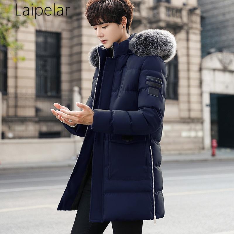 Новинка, парка Laipelar, мужские пальто, зимняя куртка, Мужская Утепленная меховая верхняя одежда с капюшоном, теплая куртка, брендовая одежда, п... верхняя одежда uki kids куртка утепленная для девочки меланж