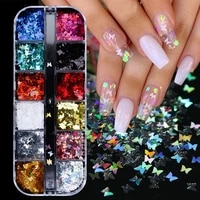 12 grids 12 colors butterfly flakes nail art glitter sparkly 3d laser butterfly sequins tips diy polish nail art decorations