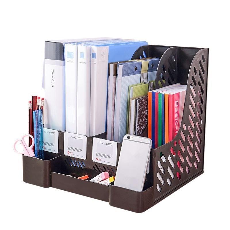 Multifunktions Kunststoff Buch Halter Lagerung Organizer 4 Abschnitte Teiler Datei Papier Magazin Rack Halter Büro Desktop Bücherregal