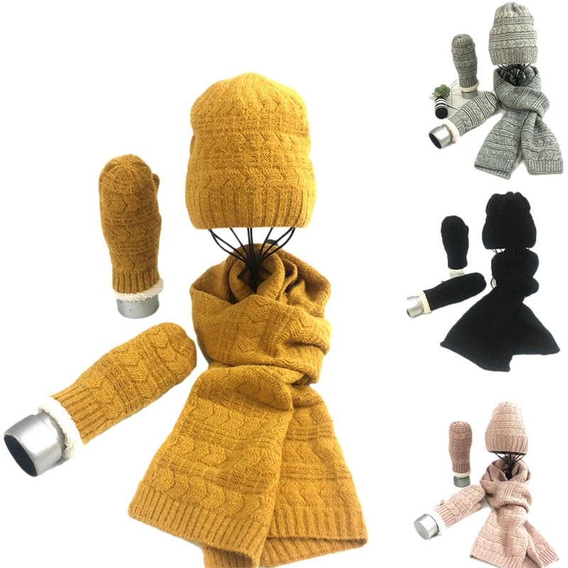 Шерстяной Теплый Комплект из трех предметов шапка шарф женский мужской зимний шарф перчатки набор модный простой толстый женский комплект