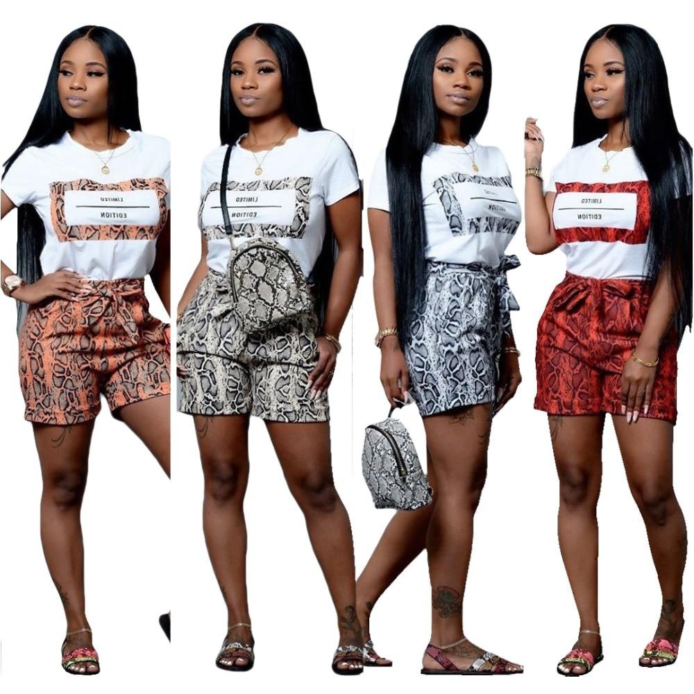 Echoine 2 Piece Set Snake Skin Letter Print Summer Shorts Set Women Tracksuit Short Sleeve T-shirt and Shorts Pocket Casual Suit