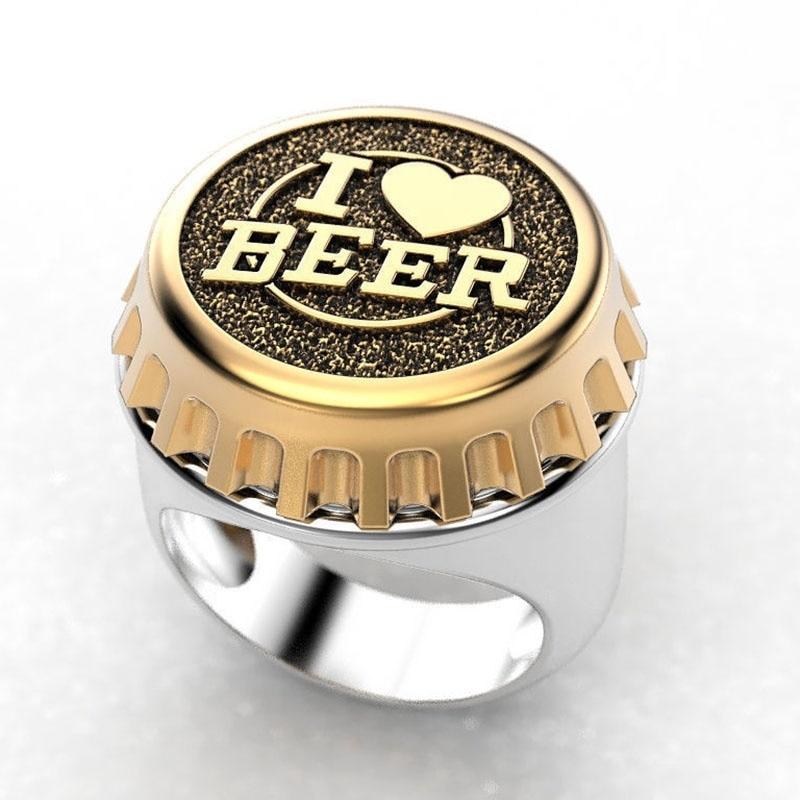 Letras góticas eu amo cerveja masculino signet anel dois tons cor cocktail festa clube garrafa tampa anéis para amante presente namorado