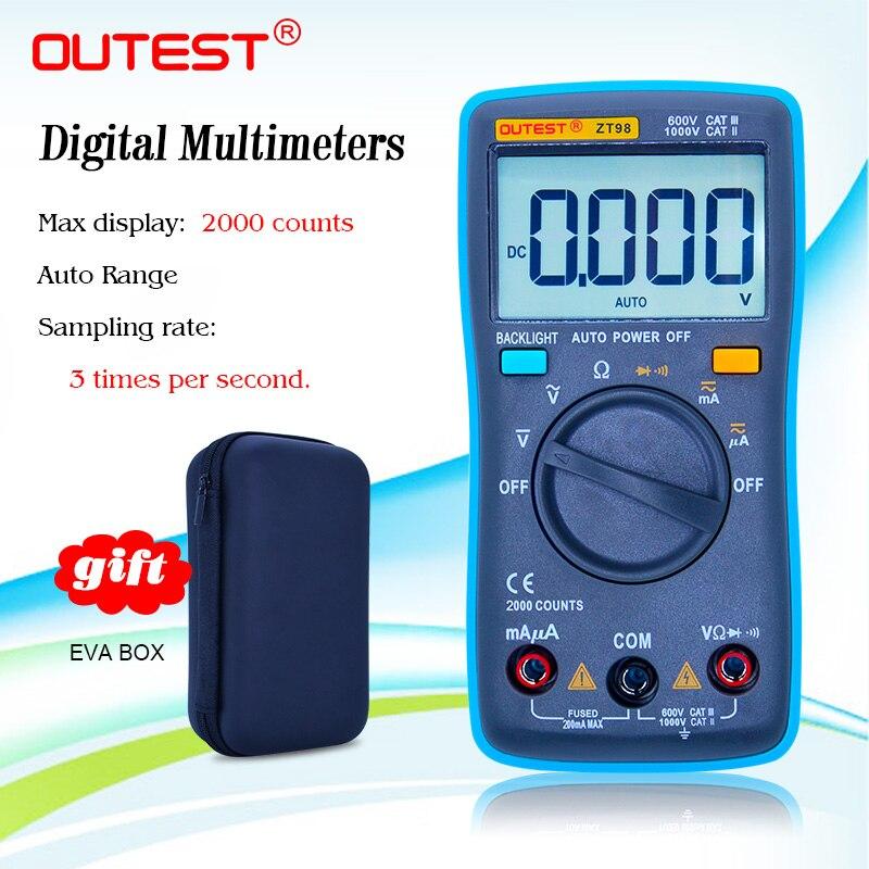 Multímetro Digital ZT98, pantalla LCD grande de rango automático, Multimetro de diodo de retención de datos con funda EVA