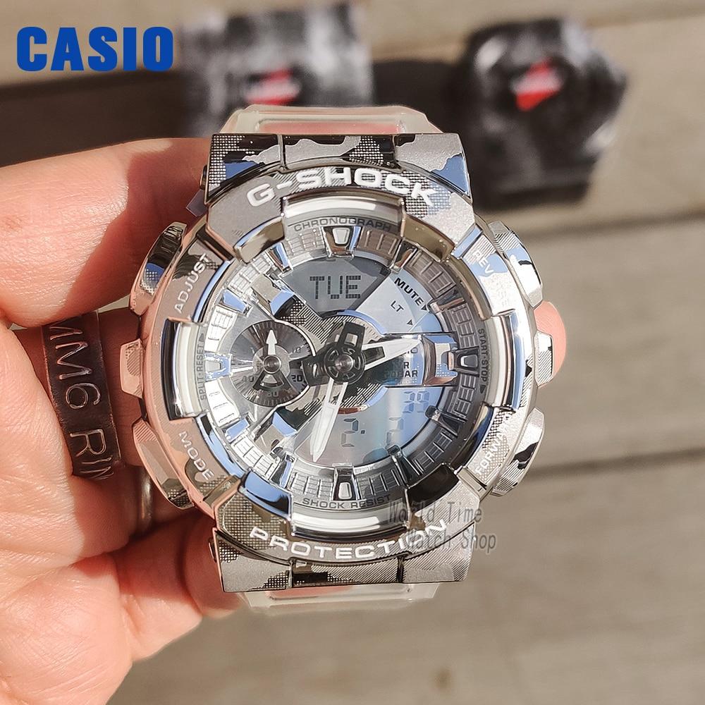 Casio Relógio Masculino Choque 2021 Novo Produto Transparente Neve Camuflagem Esporte Duplo Display Digital g