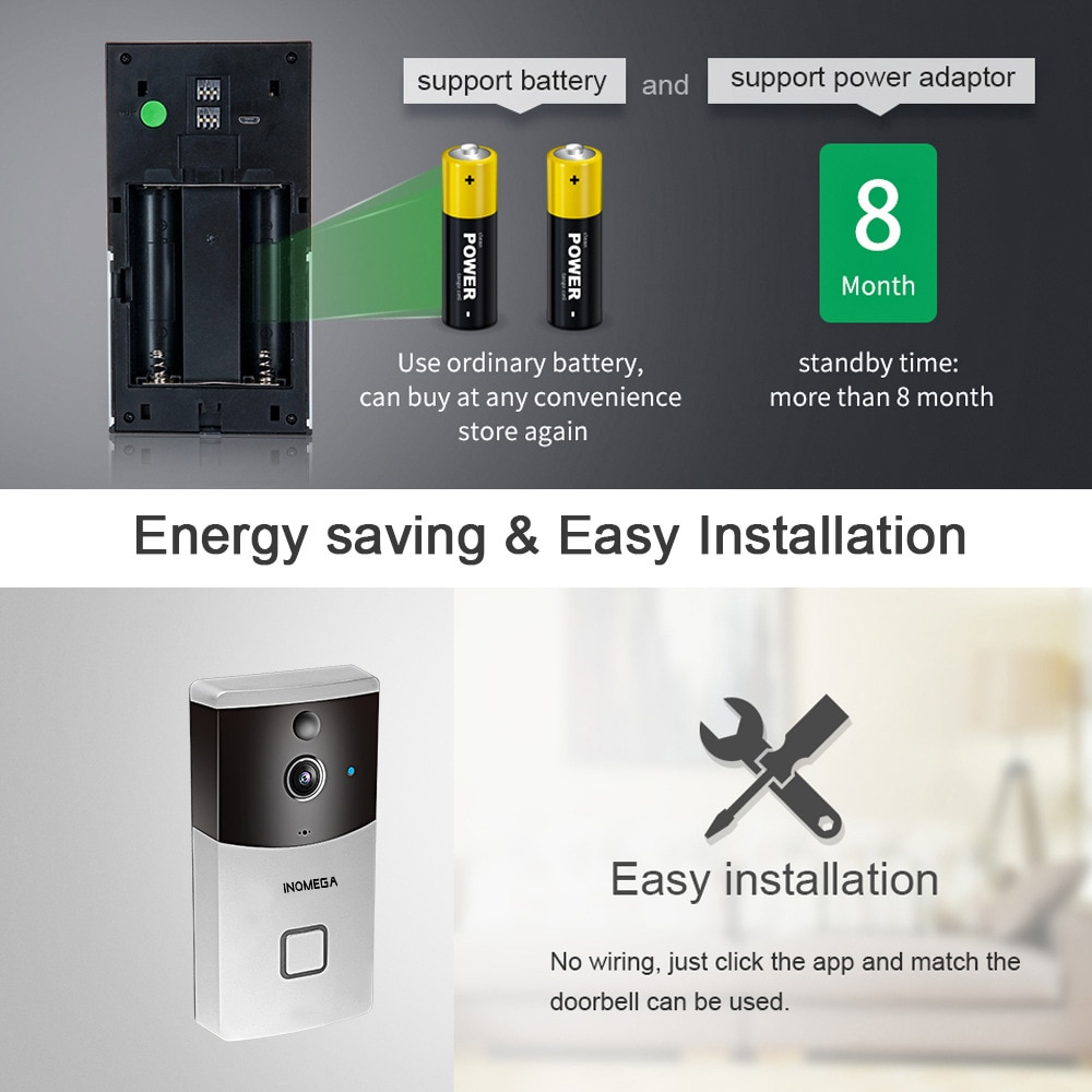 Anjielosmart Tuya 1080P Wireless Video Doorbell Camera with Motion Detection, 2-Way Audio, Night Vision, Weather Resistant enlarge