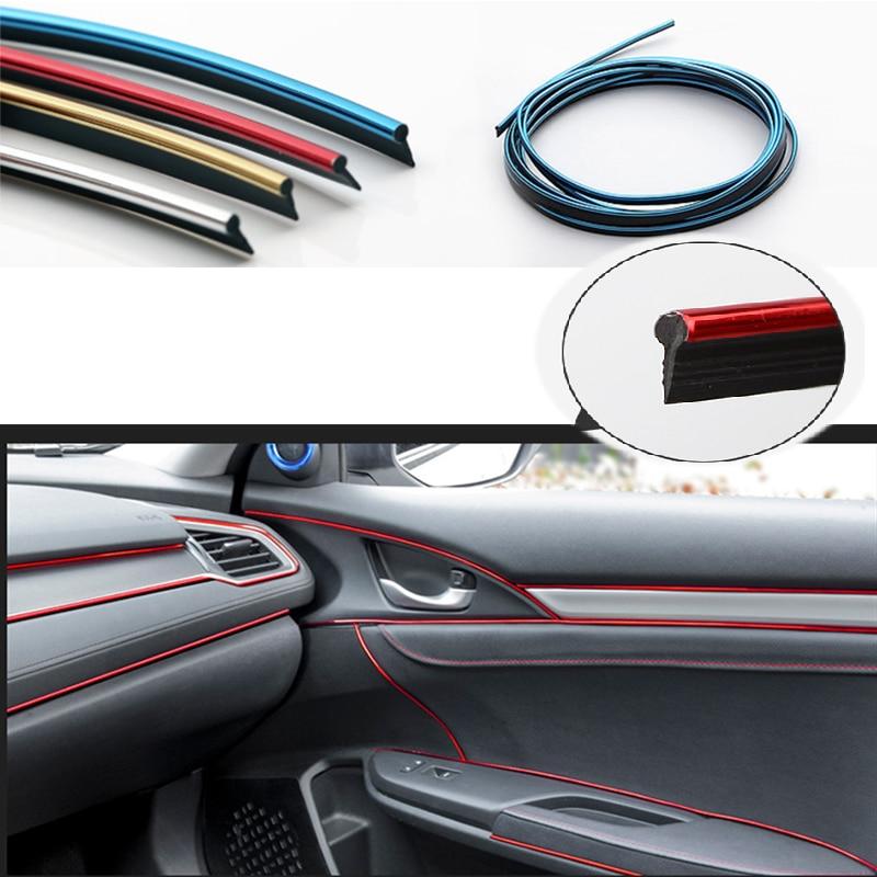 Moldura de carbono de 5M para interiores de coche, tira de tablero embellecedora para Peugeot 307 206 308 407 207 2008 3008 508 406 Mazda 3 6 2 CX-5 CX-7