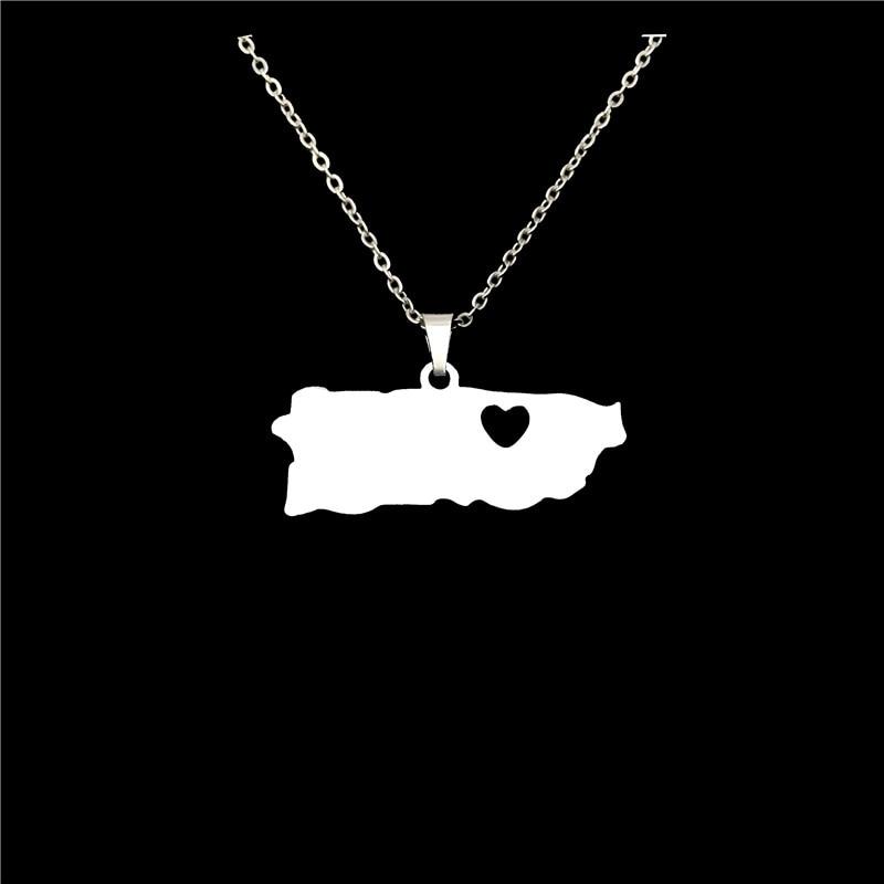 Collares colgantes de mapa con forma de corazón para mujer, joyería llamativa,...