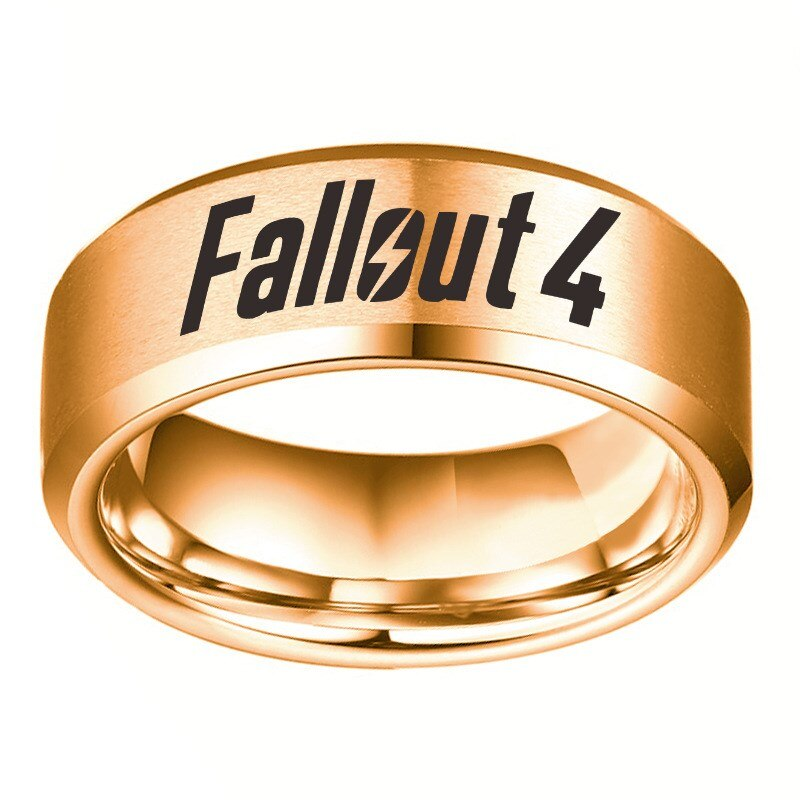 Fallout 4 plata Negro Azul oro Acero inoxidable anillos hombres Fallout 4 boda pareja negro titanio Biker anillos accesorios regalo