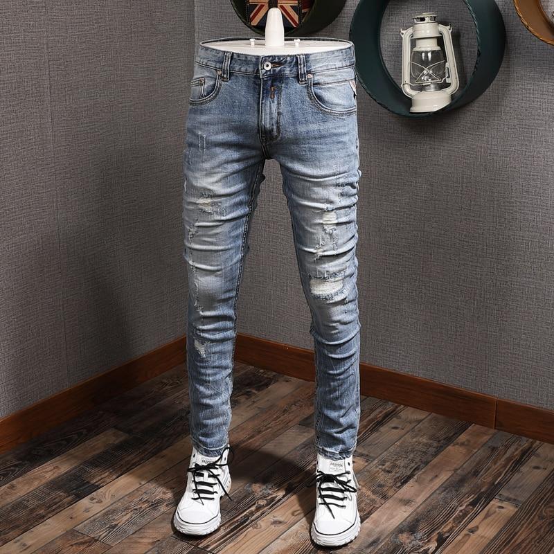 Винтажные модные мужские джинсы в европейском и американском Стиле Ретро светло-голубые Эластичные зауженные рваные джинсы мужские дизайн...