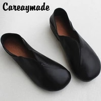 careaymade genuine leather breathable womens shoes soft sole original top layer leatherpure handmade one foot single shoes