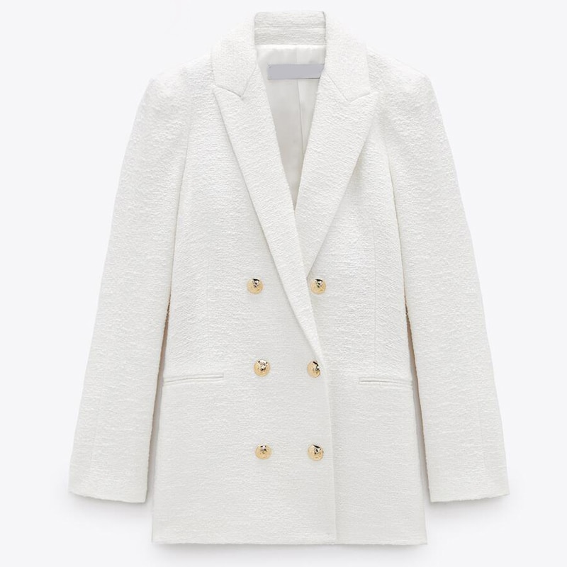 2021 Spring Autumn Women Fashion White Pink Tweed Blazers And Jackets Chic Button Office Suit Coat Ladies Elegant Outwear