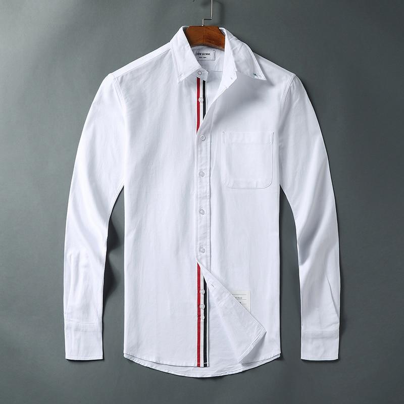 2021 Fashion Brand Shirts Men Slim White Long Sleeve Casual Shirt Turn Down Collar Oxford Striped Solid Men's Clothing