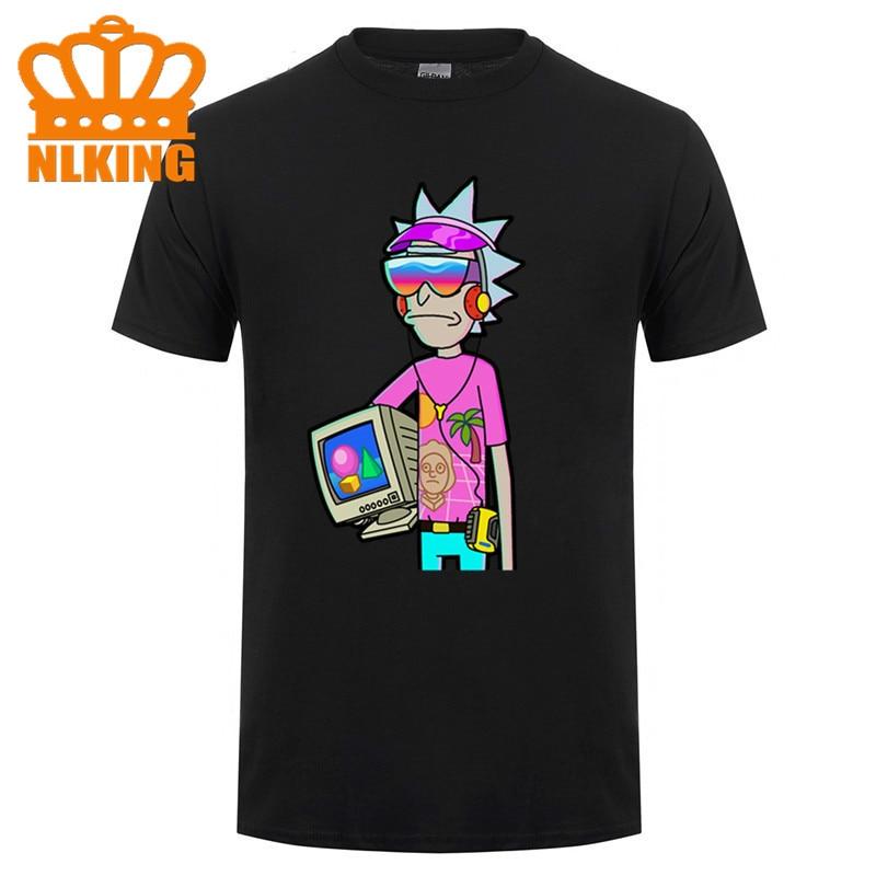 Camiseta de algodón moda ping Gildan Crewneck hombres de manga corta Vaporwave Rick & Morty negro Premium suprem camiseta 2020