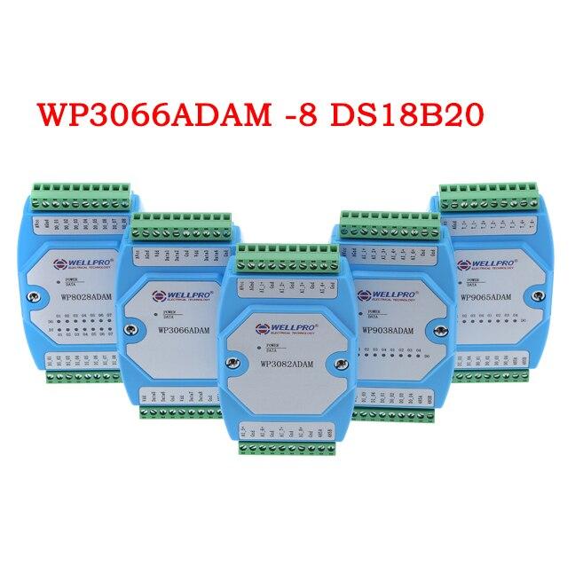 1 قطعة DS18B20 اكتساب الحرارة وحدة 8 RS485 MODBUS communication-WP3066ADAM
