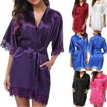 Women Robe Satin Robes Wedding Bridesmaid Bride Gown kimono Solid G-string Robe Sleapwear Nightgown