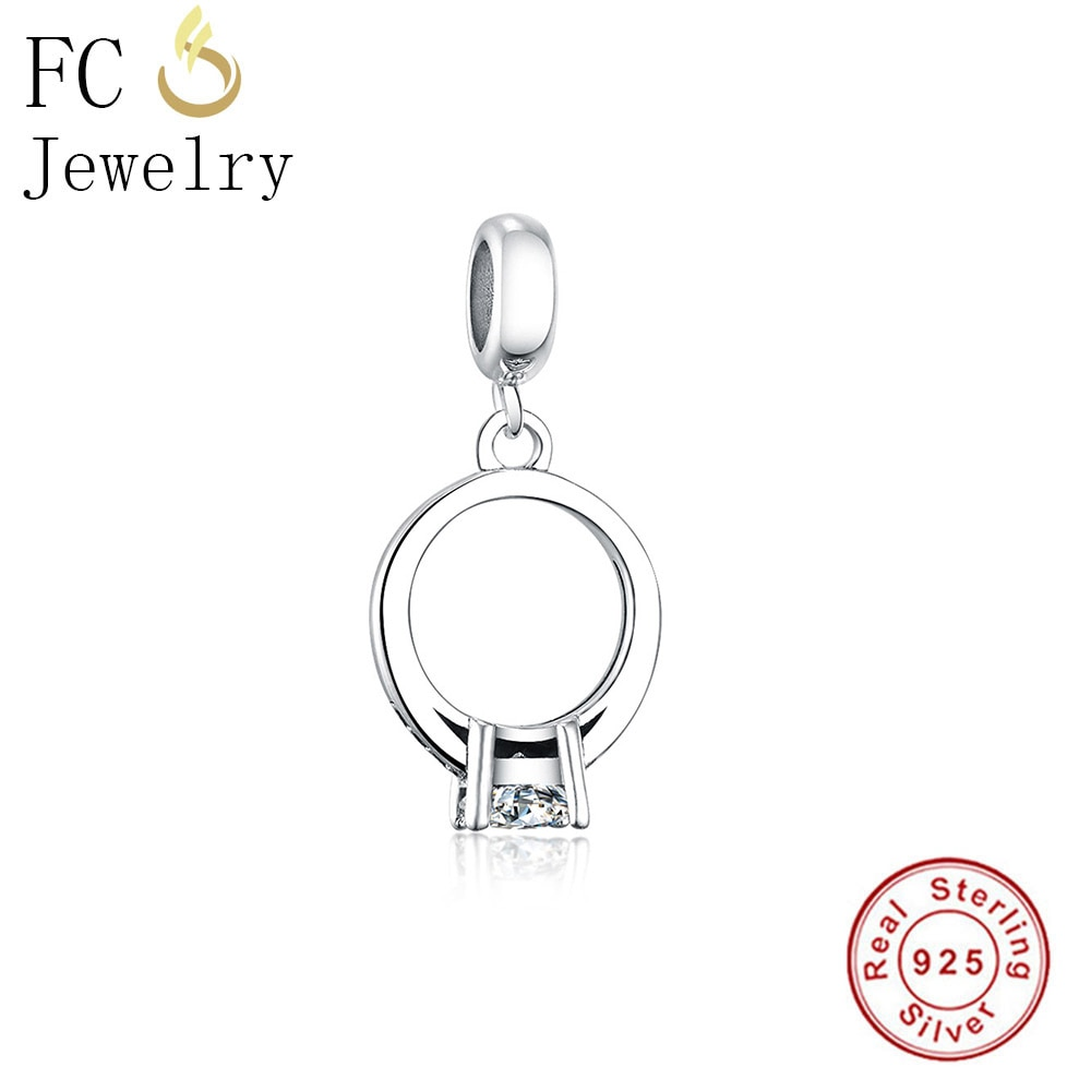 FC Jewelry Fits Original Pandora Charms Bracelets Authentic 925 Silver Floating Ring Beads Pendant Mix CZ For Women Berloque DIY