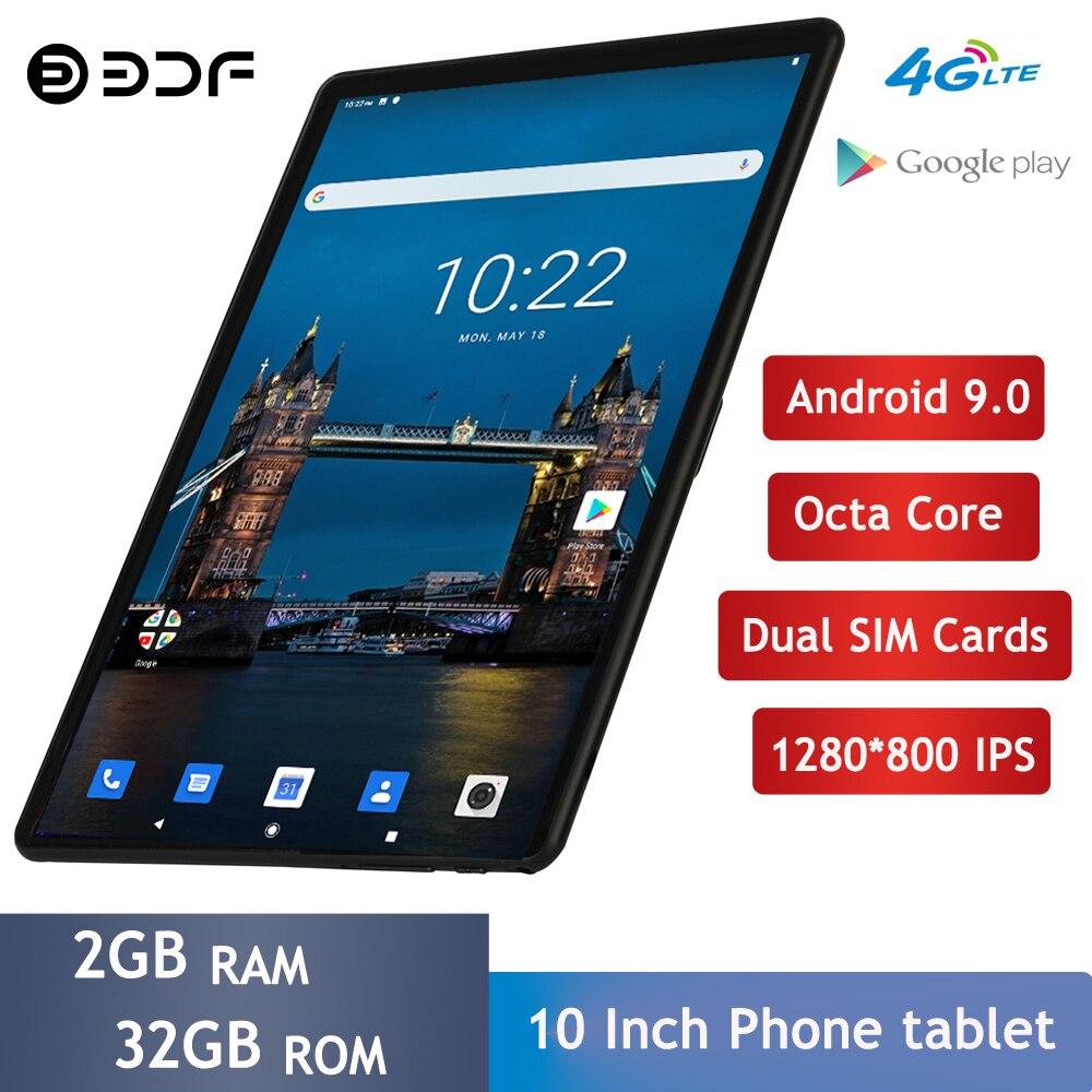 BDF 10.1 Polegada Tablet Android 9.0G LTE Octa Núcleo 4 Phone Call Tablet Pc WiFi Tablets GPS Pad Netflix youtube 32 2GB de RAM GB ROM Guia