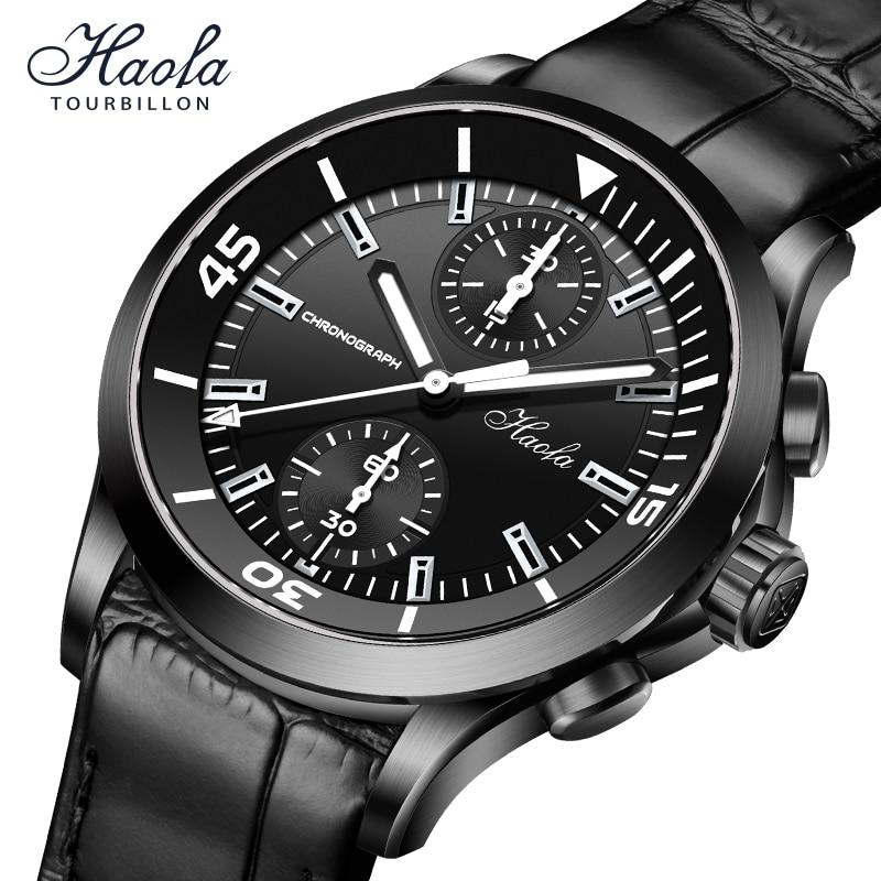 Haofa Automatic Chronograph Watch Men Black Mechanical Sapphire Pilot Skeleton Movement Watches Mens