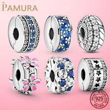 Fermoir en argent Sterling 925 avec motif pavé, breloque marguerite, perles, bouchon adapté au Bracelet Pandora, Clip de bijoux en argent 925