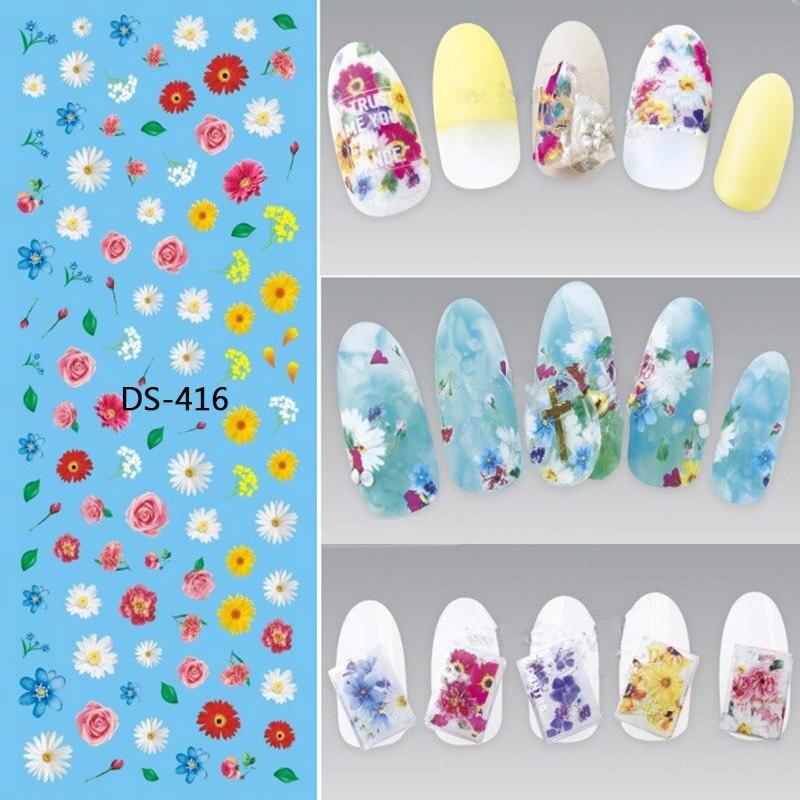 1 hoja 3D pegatinas de agua para uñas flor colorida belleza Slider Bloom Daisy Rose Leaf Transfer Slider hoja uñas Calcomanía para manicura