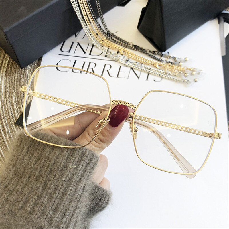 2019 Women Glasses Frames Female Fashion Gold Silver Color Sunglasses Anti-blue Light Flat Mirror Ey