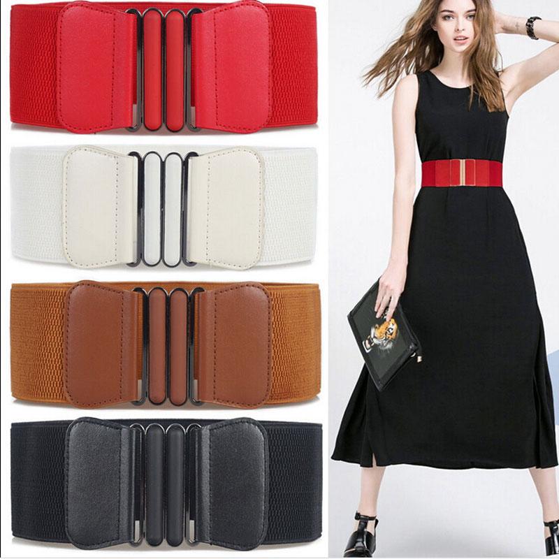 Moda marca cintos de cintura feminina senhora sólida estiramento elástico cinto largo novo vestido adorno para cintura feminina