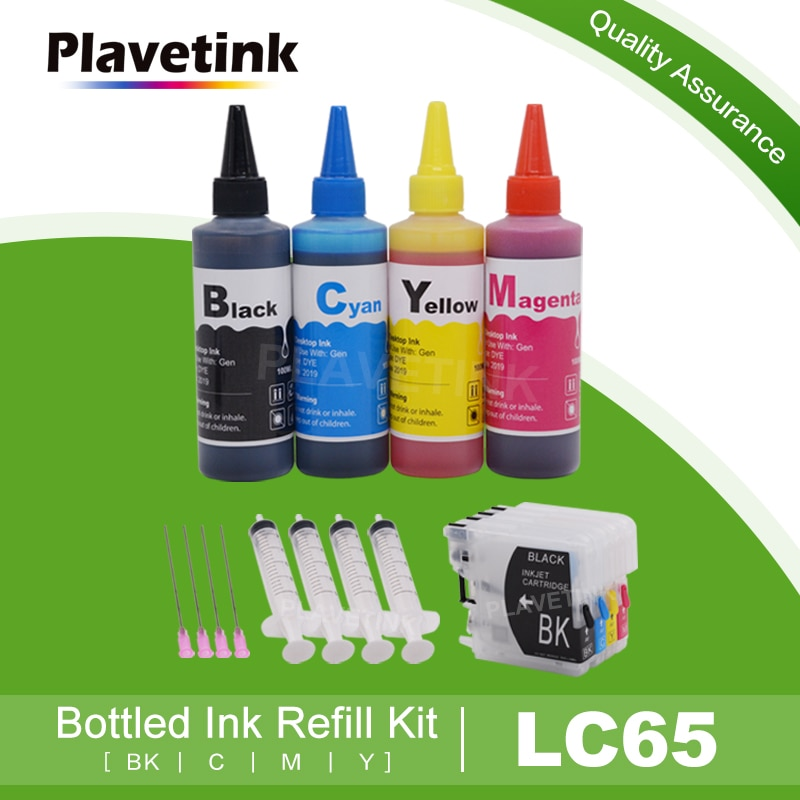 Plavetink, LC65 XL, recarga de cartuchos de tinta para Brother LC 11 16 38 61 65 67 980 DCP 585CW 595CN J715W 6690CN + 400ML, tinta de impresora