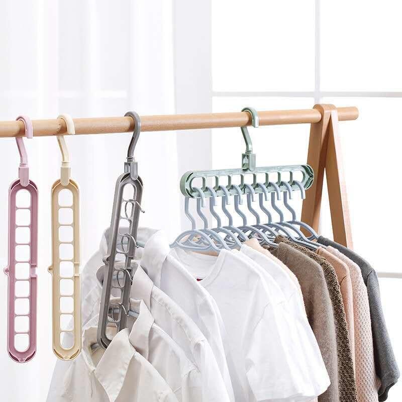 Cabides 360 de cabides rotativos, cabide mágico com 9 buracos rotativos para armazenamento de roupas de bebê, secagem de armário, casa, organizador de closet