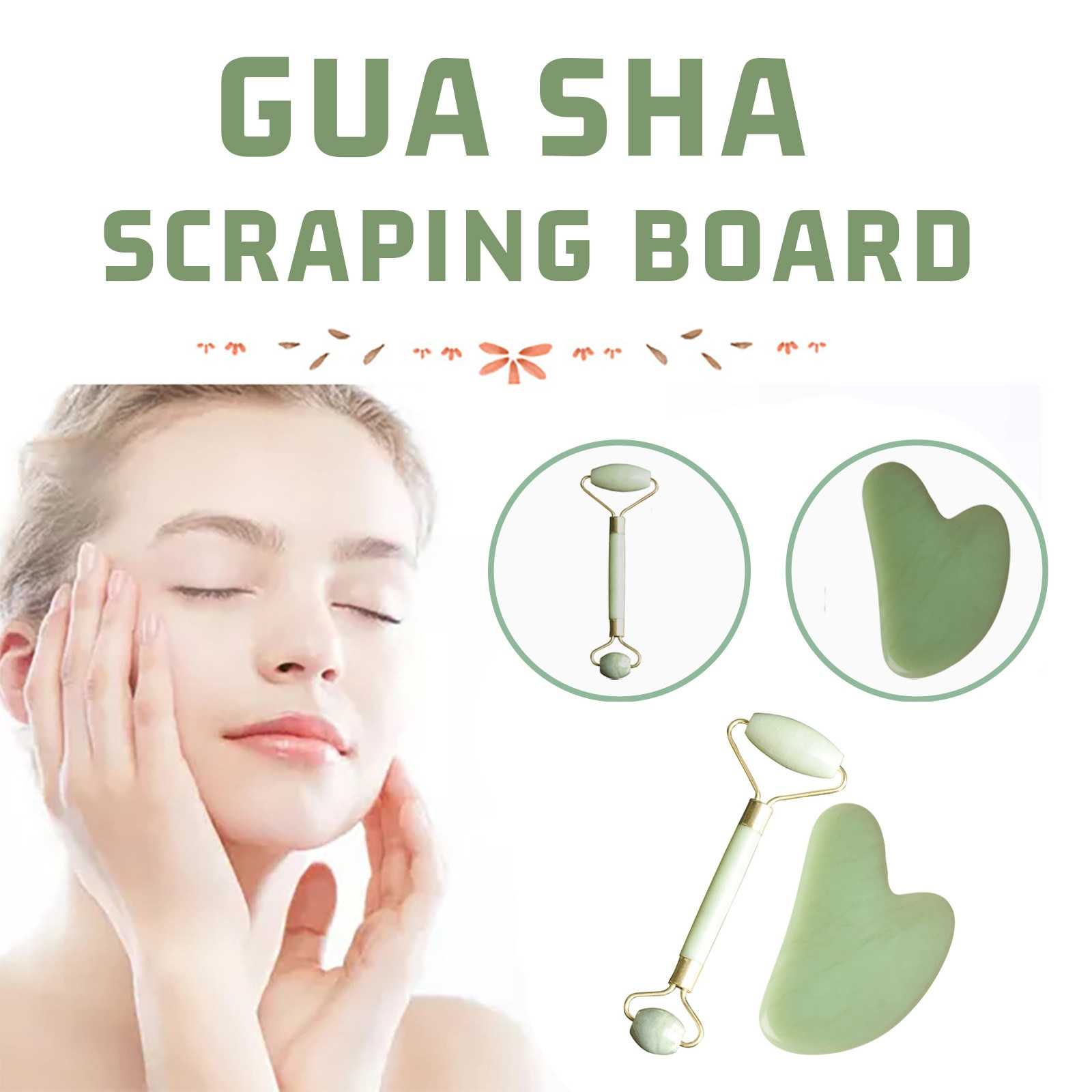Round Jade Massager Heart-shaped Scraping Board Facial Massage Board gua sha face care массажер для лица skin care