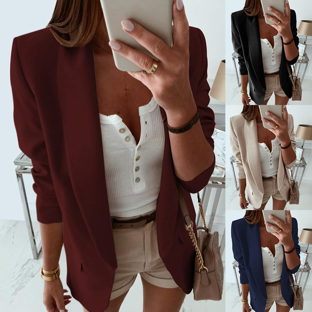 Blazer de manga larga para mujer, chaqueta femenina, color azul marino y blanco, para otoño