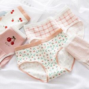 Anewmorn Japanese Cute Cherry Women's Panties Floral Underwear Women Soft Breathable Cotton Briefs Woman Girls Panties