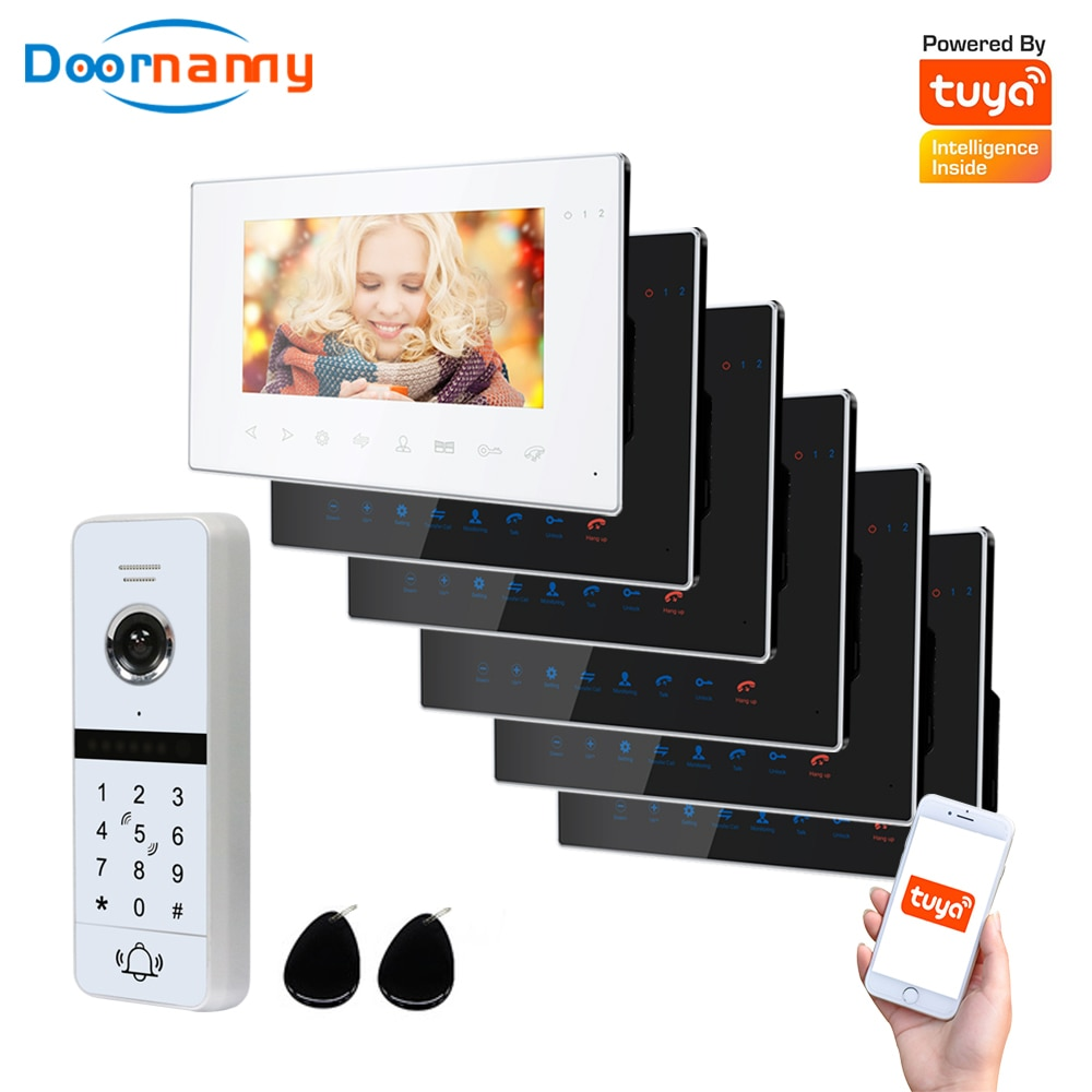 Doornanny WiFi Video Intercom Kit Villa Apartment System 1Doorbell 6Home Doorphone Video Call AHD 960P Tuya APP Remote Unlock