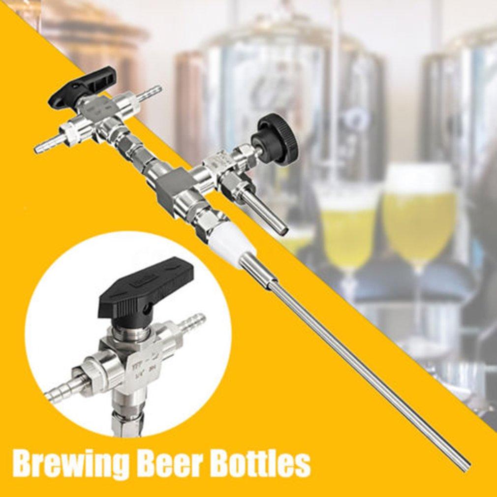 304 Stainless Steel Counter Pressure Beer Bottle Filler 3 Way Hose Kit For Homebrewing Beer Home Brew co2 Gun Bottling Equipment